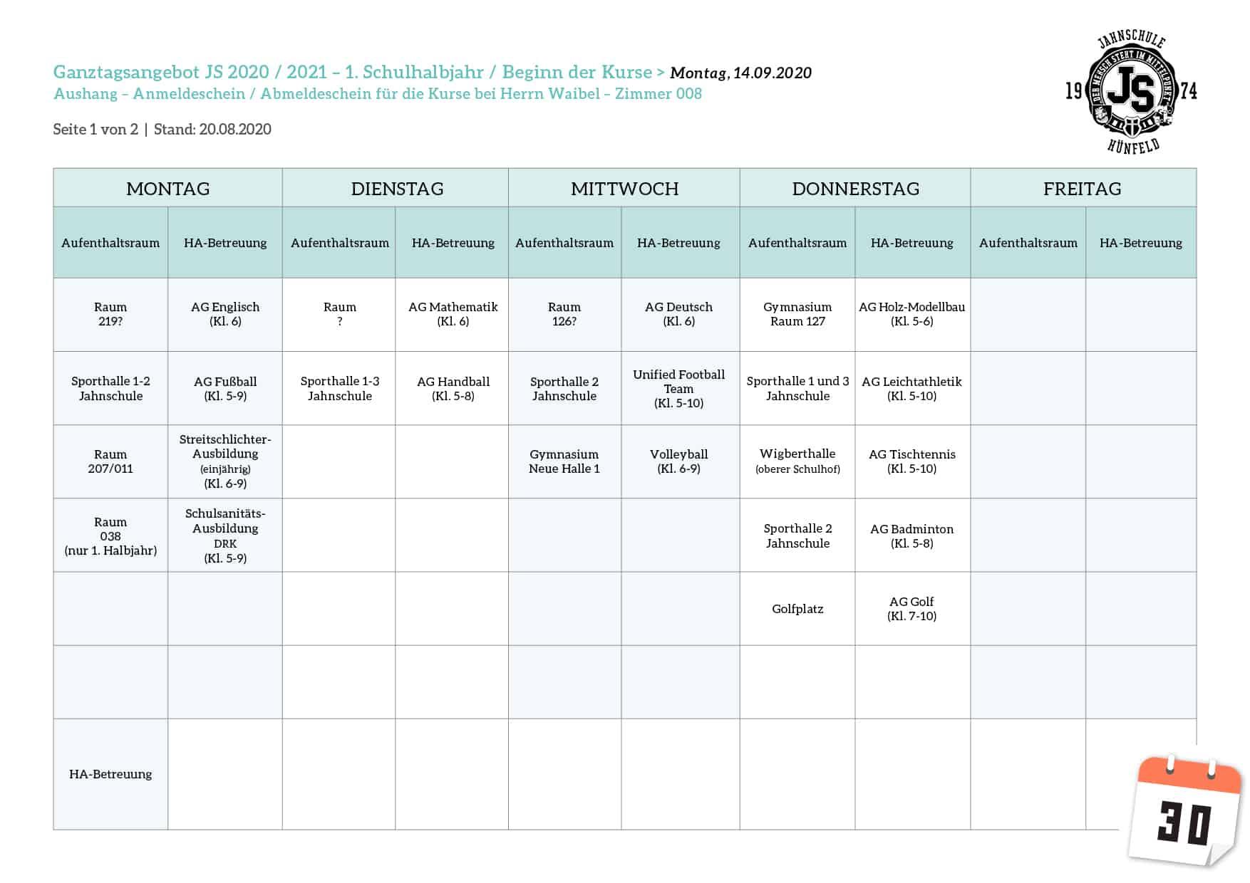 Ganztagsangebot-Wochenplan 2020-2021 1.HJ