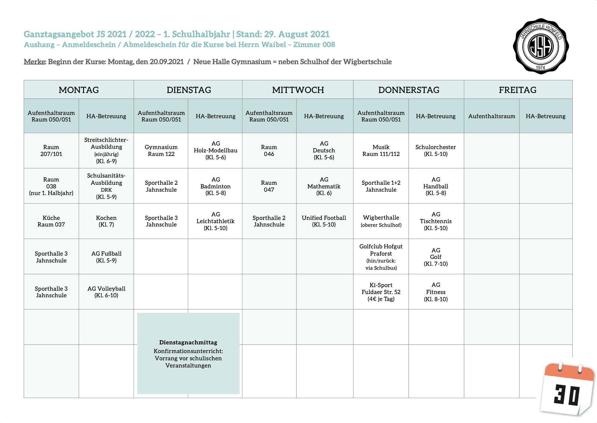 Ganztagsangebot-Wochenplan